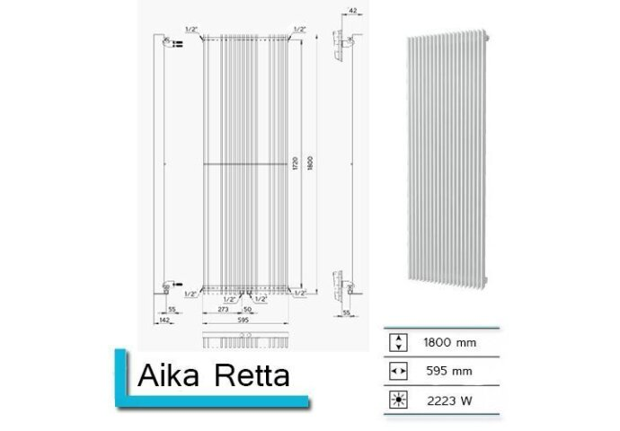 Handdoekradiator Aika Retta 1800 x 595 mm Zandsteen
