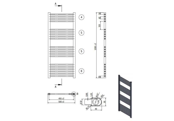 Designradiator Nile Gobi 120x50cm Wit Zij Aansluiting (Links Rechts Aansluiting)