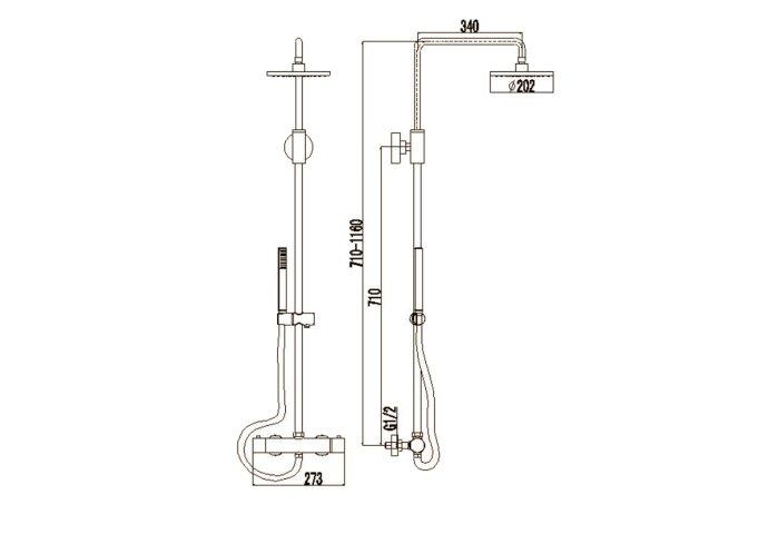 Regendouche set Best Design Black Pary Opbouw Thermostaat Messing Zwart Ø 20cm ADB4004850