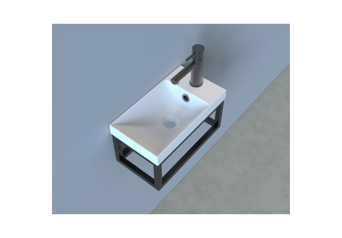 Fonteinset Industrieel BWS Frame Hangend 40 cm Mat Zwart Aluminium Mat Wit (exclusief kraan en afvoer)
