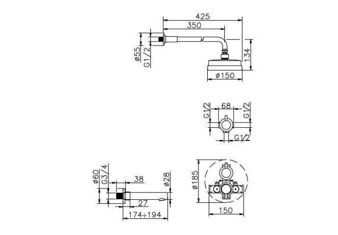 Huber Kiruna inbouw Bad/Douche combinatie met thermostaatkraan chroom 916KR01HCR