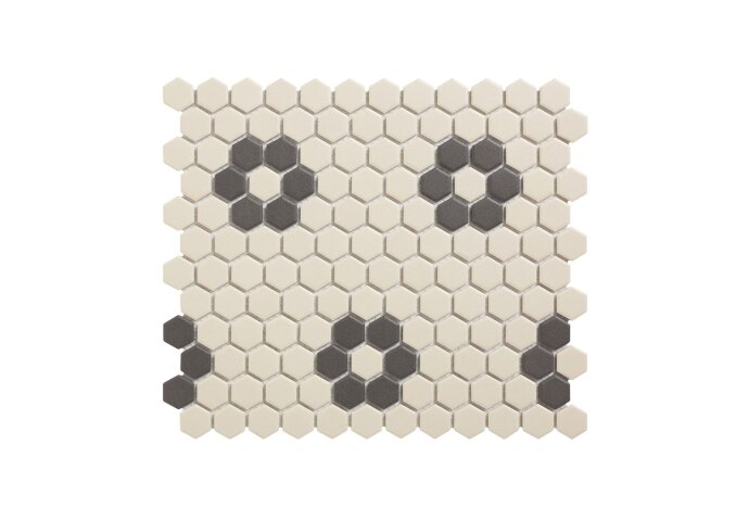 Mozaïek London 26x30 cm Onverglaasd Porselein Hexagon, Wit En Zwart 4 Bloemen(Prijs Per 0.78 m2)