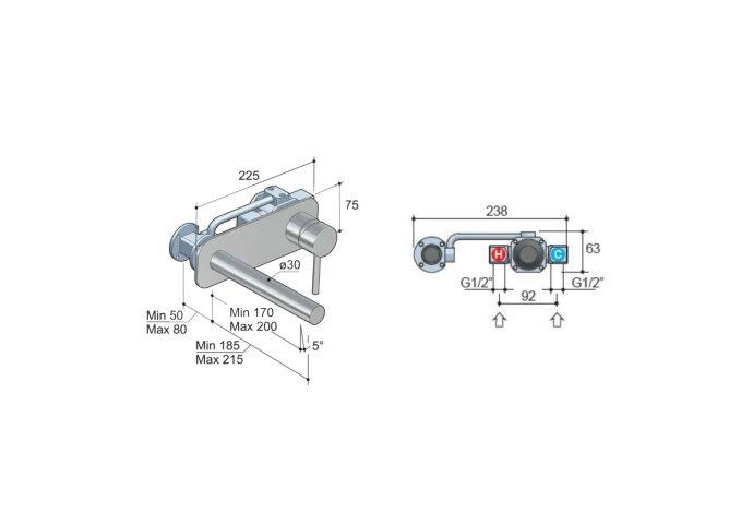 Wastafelmengkraan Hotbath Buddy inbouw 3+3 inbouwsysteem 1-hendel Recht 17 cm Geborsteld Nikkel
