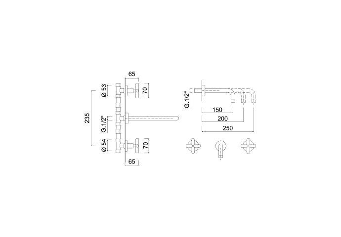 Inbouw Wastafelmengkraan Sanimex Giulini Tweeknops Kruisgreep 20cm Inclusief G-Link Inbouwdeel Mat Zwart