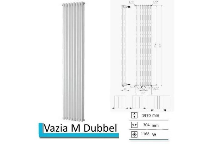Handdoekradiator Vazia M Dubbel 1970 x 304 mm Pergamon