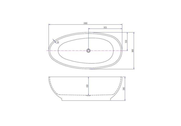 BWS Vrijstaand Acryl Ligbad Ellips 180x90 Wit