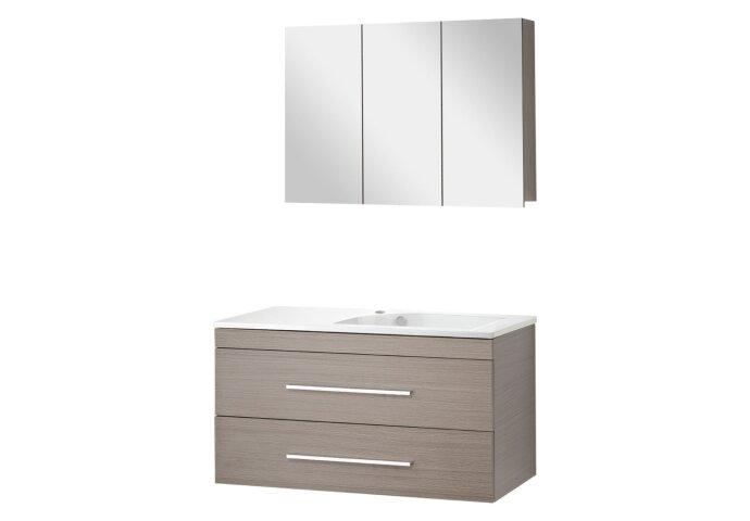 Badmeubelset Differnz Style 100x45x48cm Spiegelkast Softclose Kraangat links Grijs Eiken