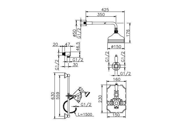 Huber Victorian Thermostatische Inbouw Doucheset Chroom-Goud 912VT01HCA