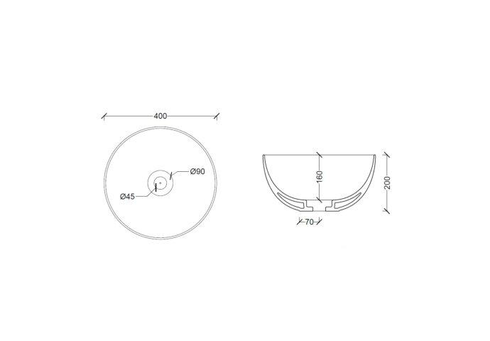Ronde Wastafel Opbouw Salenzi Unica Round 40x20 cm Mat Zwart (inclusief bijpassende afvoerplug)