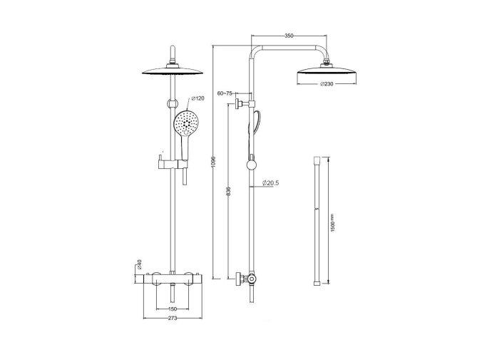 Regendoucheset Thermostatisch BWS Luxery Mat Zwart