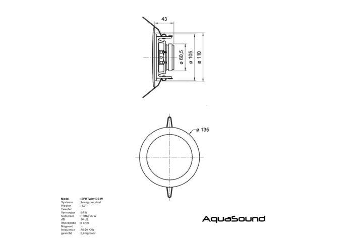 Bluetooth Music Center Aquasound + Twist Speakerset 50 Watt / BT4.0 / AUTO-AUX)