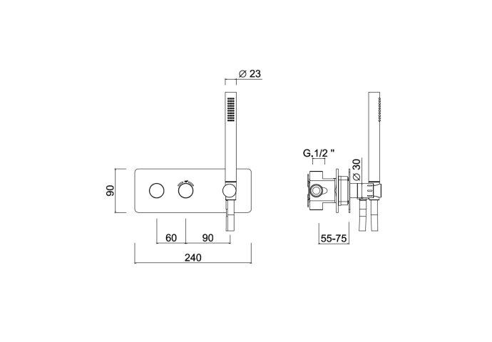 Inbouw Douchekraan Sanimex Giulini Thermostatisch 1-Uitgang Rechthoekig Incl. Handddouche En BOX Inbouwdeel Chroom