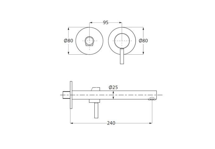 Inbouw Wastafelkraan Herzbach Design IX PVD-Coating 24 cm Zwart