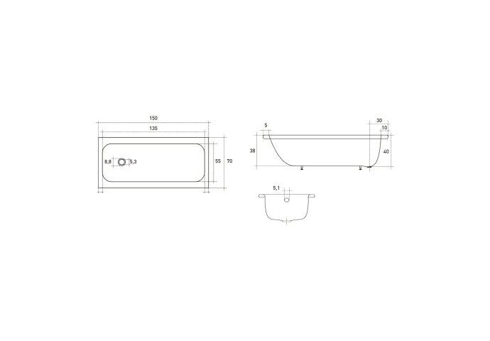 VM GO Isifix Ligbad 150x70cm Plaatstaal 40cm Diep Inclusief Potenstel