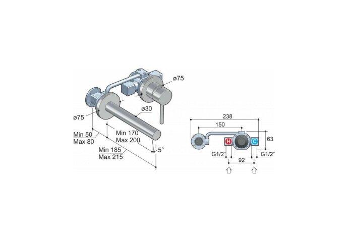 Wastafelmengkraan Hotbath Buddy Inbouw 3+3 Inbouwsysteem 1-hendel Uitloop Recht 17 cm Geborsteld Nikkel