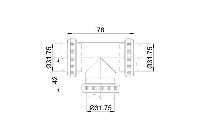 Koppel T Stuk Exellence 32mm tbv Vloerbuis Geborsteld Messing Goud