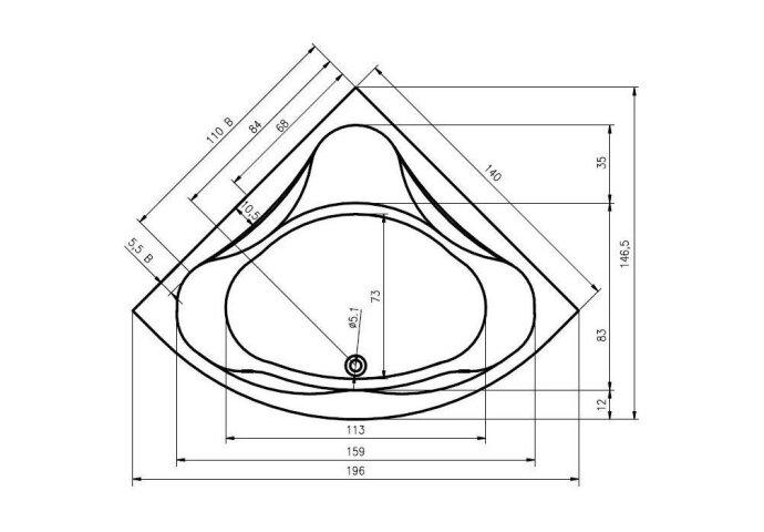 Hoekbad Neo 140x140 cm wit (Ligbaden)
