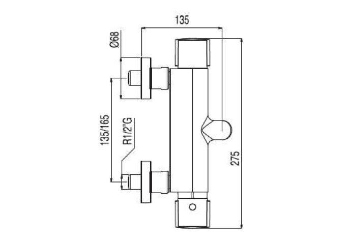 Lex Tres Thermostatisch badkraan met handdouche chroom 1811749