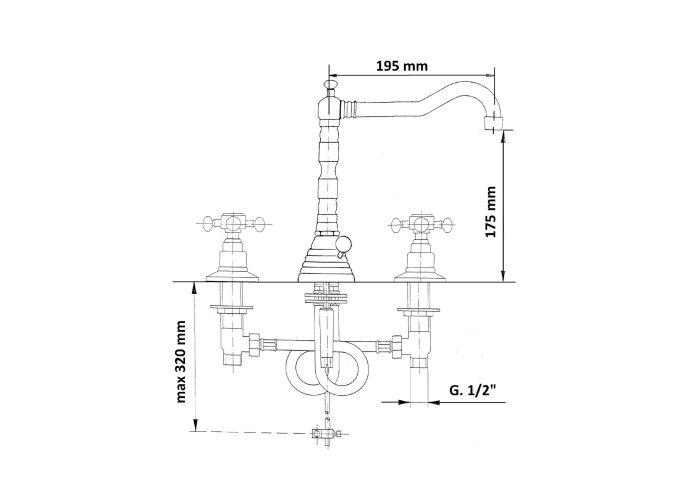 Wastafelmengkraan Retro 3-gats Sapho Antea 2-knop Uitloop Gebogen 17.5 cm Chroom / Goud (incl. waste)
