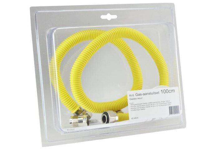 Blister RVS gasslangset 100cm + acc