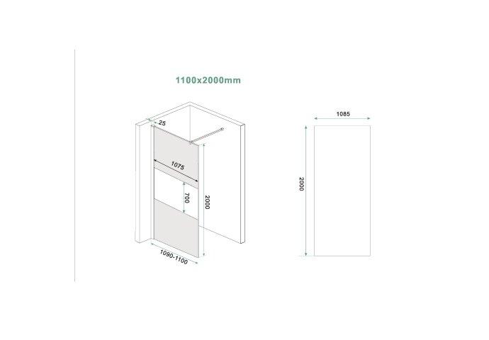 Inloopdouche Wiesbaden Slim Rookglas met Middenband 110x200 8mm Nano Coating