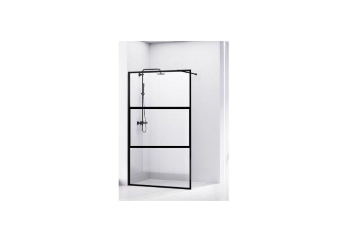 Douchewand Van Rijn ST04 Zwart Aluminium Profiel 8 mm Helder Glas (Alle Maten)
