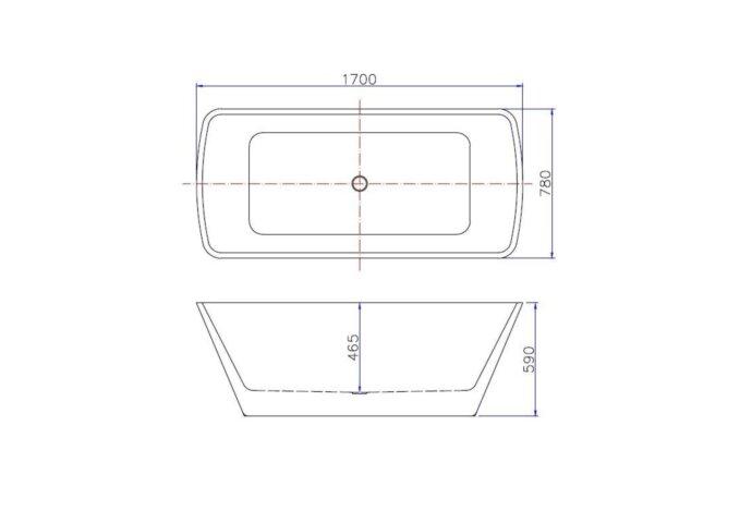 BWS Vrijstaand Ligbad Vierkant 170x78x63 cm Acryl Wit (met waste)
