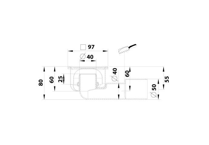 Doucheput Aquaberg Blücher Compact RVS Vloerput ABS Zij en Onderuitlaat 40mm 97x97mm met Waterslot 25mm