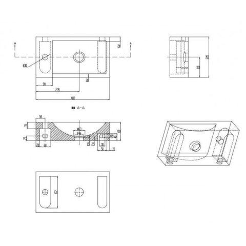 Fonteinkast Vision met Hardstenen Fontein 40cm Wit