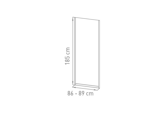 Inloopdouche VM Go Avis 90x185cm Vaste Wand 4mm Veiligheidsglas Met Stroken Chroom