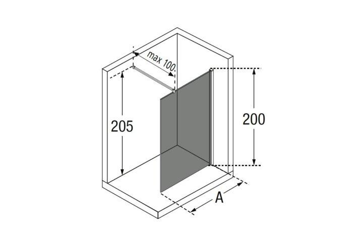 Inloopdouche Novellini Kuadra met Donkere Middenband 70x200 cm Mat Zwart Profiel