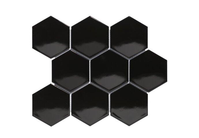 Mozaïektegel The Mosaic Factory Barcelona Hexagon 95x110 mm Porselein Zwart