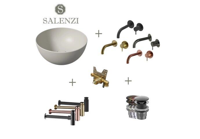 Salenzi Waskomset Unica Round 40x20 cm Mat Grijs (Keuze uit 4 Kleuren Kranen)