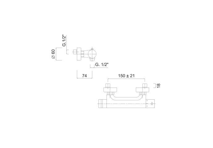 Douchekraan Thermostatisch Sanimex Giulini Opbouw Tweeknops HoH 15cm Chroom