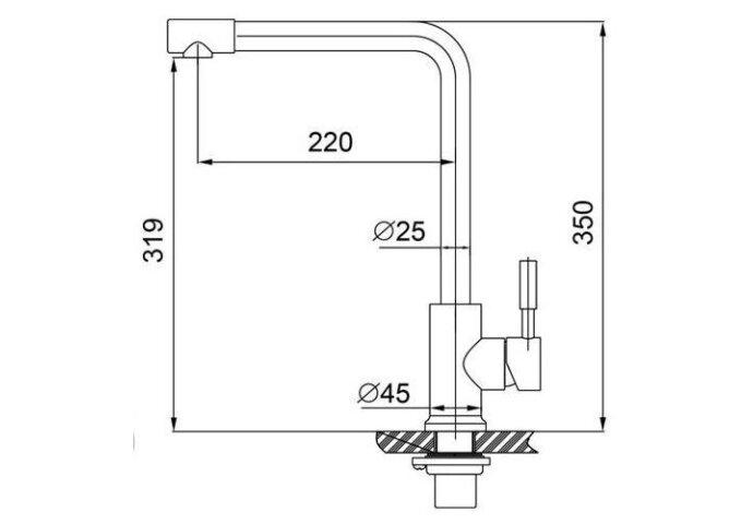 304-Blake RVS Keukenkraan hooggebogen uitloop (Keukenkraan)