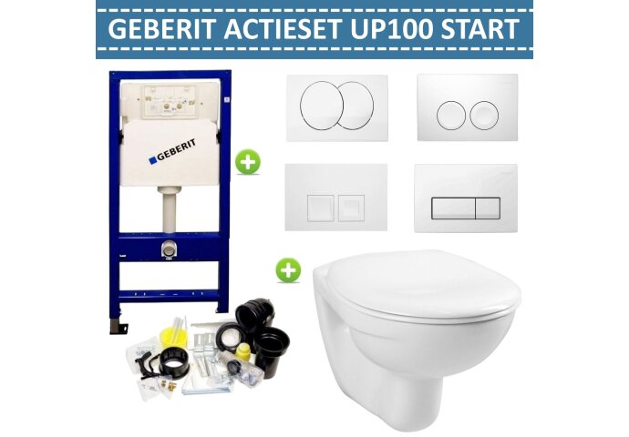 Aktieset Geberit UP100 Toiletset Start wandcloset met Delta drukplaten