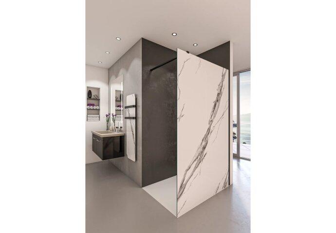 Inloopdouche BWS Free Time 120x200 cm Marmer Glas Timeless Coating Mat Zwart Profiel