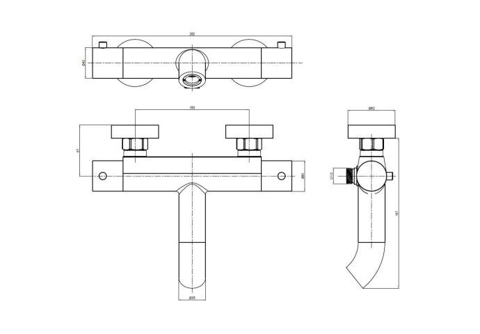 Opbouw Bad- en Douchekraan Brauer ColdStart Black Edition Thermostatisch Mat Zwart Messing