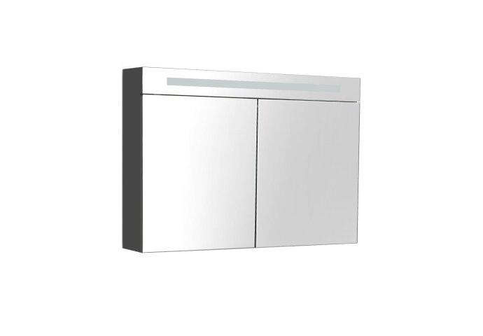 Spiegelkast Sanilux Deluxe 80x70x16cm met TL verlichting en stopcontact Hoogglans Antraciet