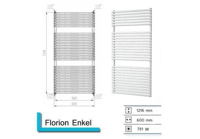 Handdoekradiator Florion Enkel 1216 x 600 mm Donker grijs structuur