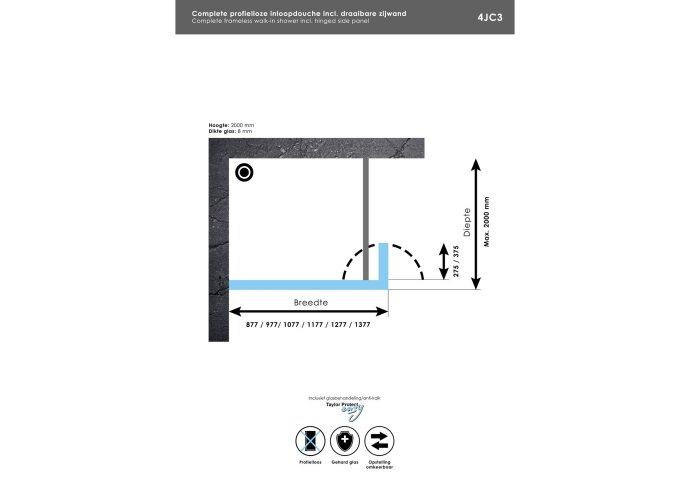 Complete Profielloze Inloopdouche Draaibare Zijwand 40cm (Alle Kleuren En Maten)
