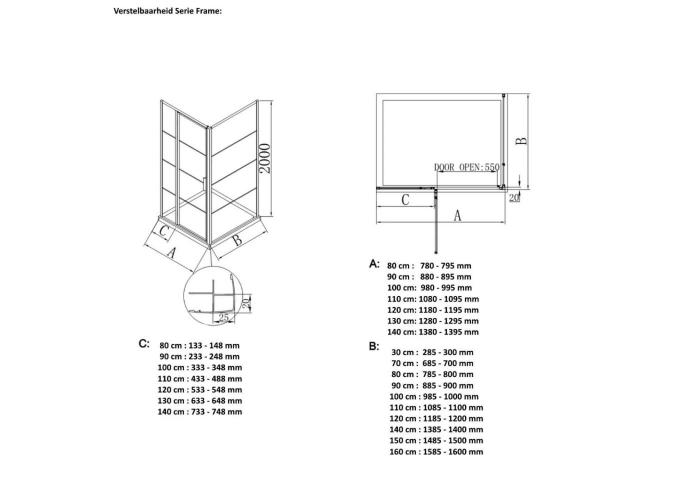 BWS Inloopdouche Frame 90x200 cm 8mm NANO Glas Mat Groen Raster