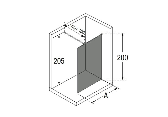 Inloopdouche Novellini Kuadra met Donkere Middenband 100x200 cm Mat Zwart Profiel