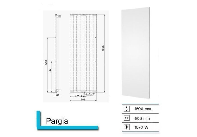 Handdoekradiator Pargia 1806 x 608 mm Mat Wit