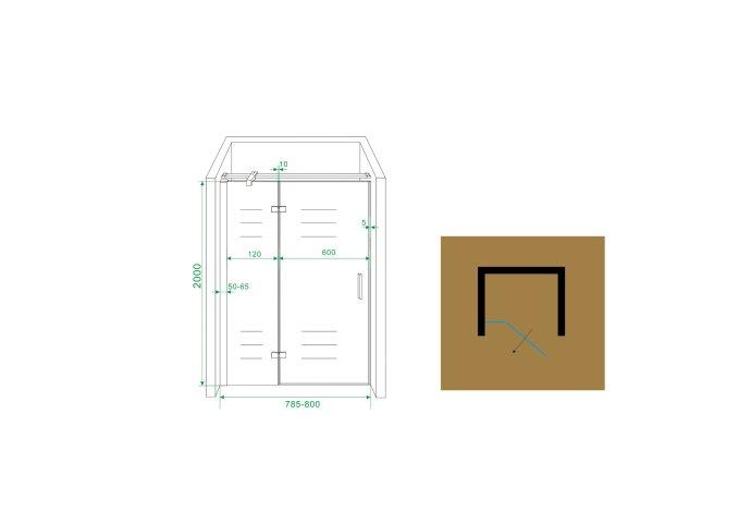 BWS Swingdeur Nis 80x200 cm met Vast Paneel 8 mm NANO Coating