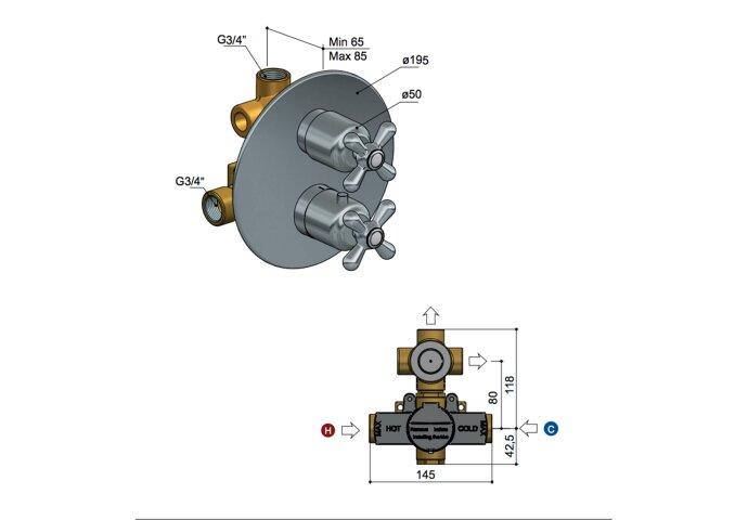 Douchethermostaat Hotbath Amice Inbouw 2-weg Kruisgreep Verticaal Chroom