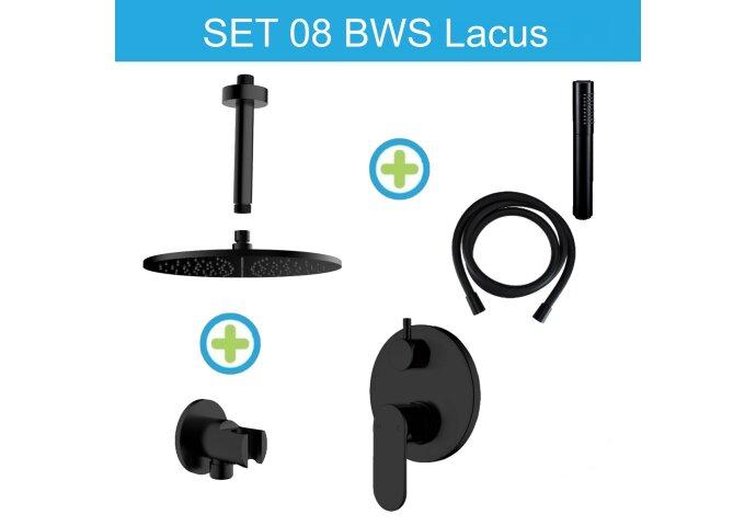 BWS Lacus Inbouw Regendouche Set 08 Plafonduitloop Mat Zwart