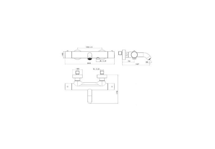 Badkraan Thermostatisch Plieger Napoli Met Omstel HOH 15cm Cool Body Chroom