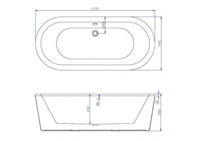 Vrijstaand Ligbad Best Design Becoma 178x80x55 cm Wit