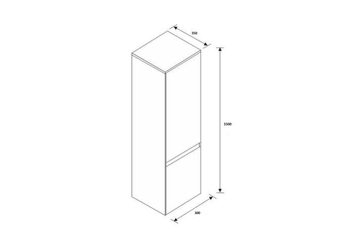 Kolomkast Isvea Twee Soft-Close deuren Greeploos 30x35x150 cm Rechts Hoogglans Zwart